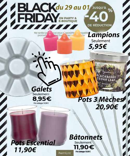 Ofrre bougies parfumées Black Friday Partylite